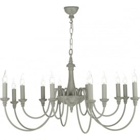 BAILEY large 12 light traditional ceiling chandelier in ash grey