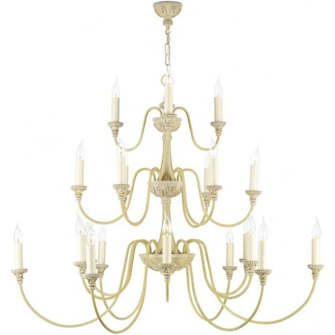 Large edwardian style cream chandelier with 21 candle lights bailey large 3 tier antique cream chandelier mozeypictures Images