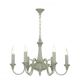 BAILEY traditional Edwardian chandelier in a painted ash grey finish