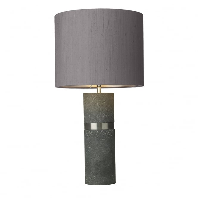 David Hunt Lighting BAND charcoal grey stone effect table lamp with ivory silk shade