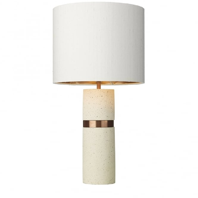 Artisan Lighting BAND pale stone effect table lamp with ivory silk shade