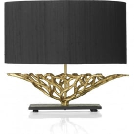 BASKET black and gold table lamp with silk shade