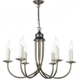 BERMUDA 6 light antiqe distressed brass chandelier for high ceilings