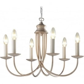 BERMUDA 6 light cream gold chandelier for high ceilings