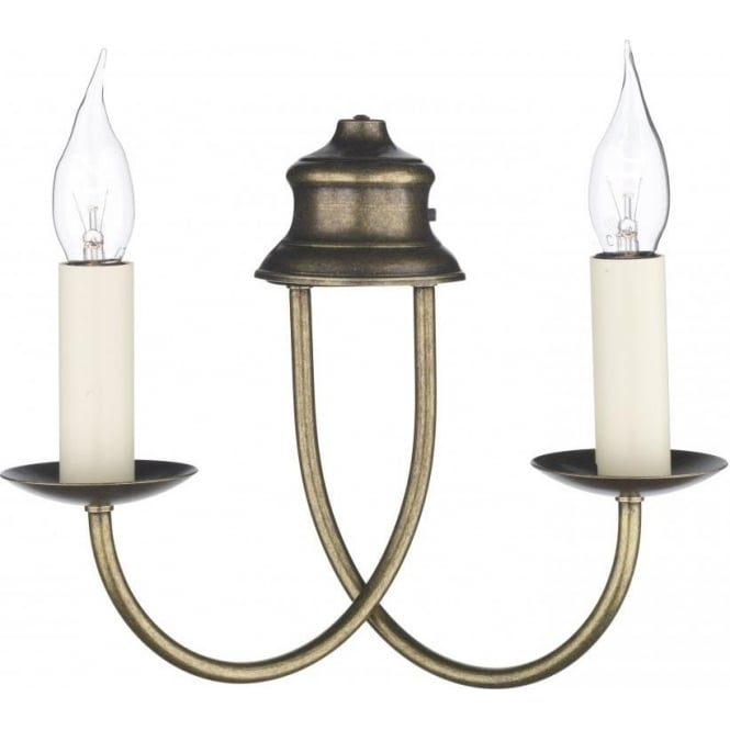 David Hunt Lighting BERMUDA distressed antique brass double candle wall light