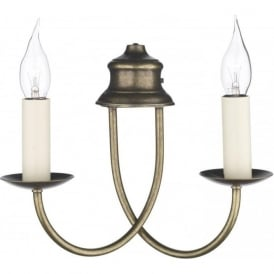 BERMUDA distressed antique brass double candle wall light