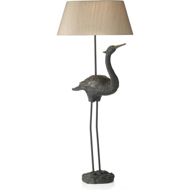 lighting artisan lighting bird table lamp with taupe silk shade. Black Bedroom Furniture Sets. Home Design Ideas