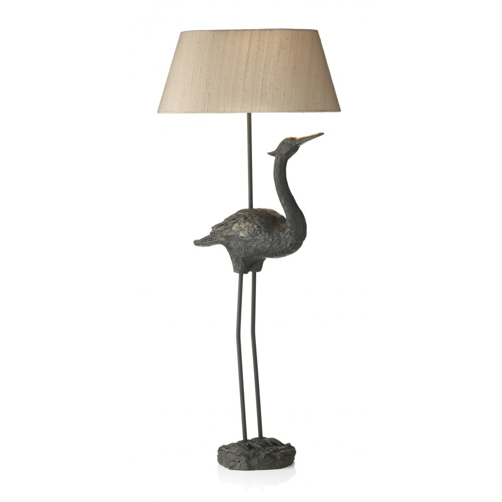 Bird table lamp with taupe silk shade tall flamingo lamp Types of table lamps