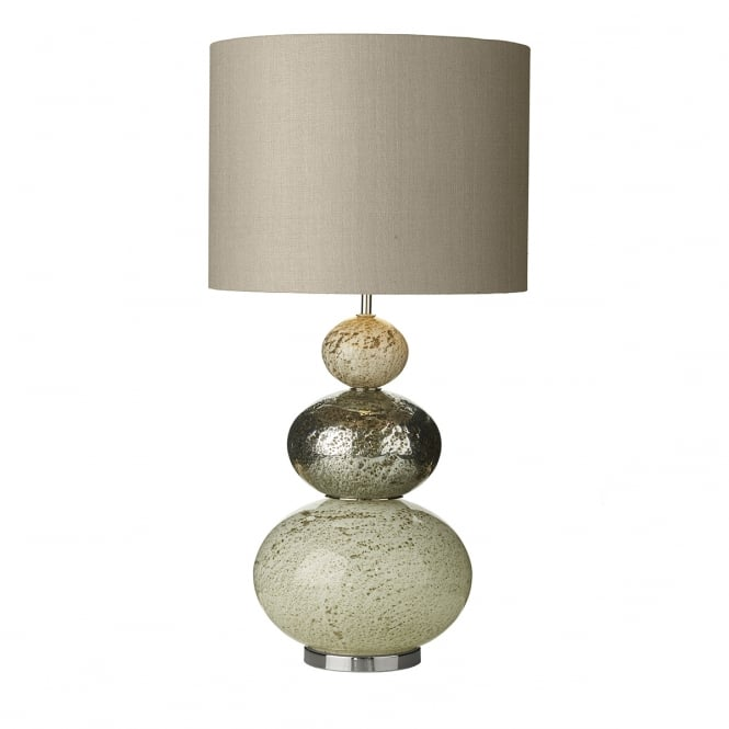David Hunt Lighting BOAVISTA volcanic glass pebble table lamp with linen grey silk shade