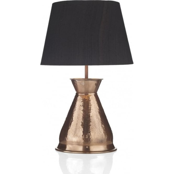 Hammered Copper Vase Table Lamp With Black Silk Shade