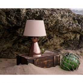BUCCANEER copper vase table lamp with taupe silk shade