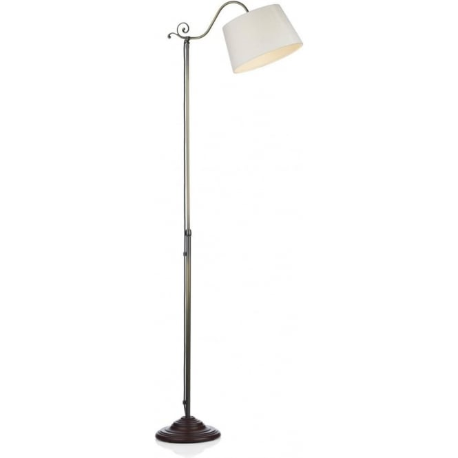 Antique Brass Floor Lamp Uk: Traditional Antique Aged Brass Floor Lamp, Ivory Silk Shade