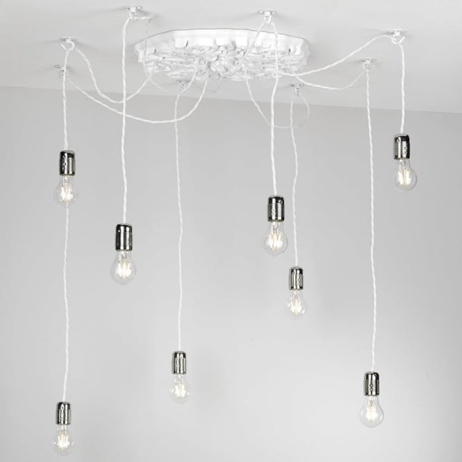 Multiple pendant light cluster with 7 lights hanging on braided cables chatsworth 8 light white cluster pendant with ceiling hooks aloadofball Choice Image