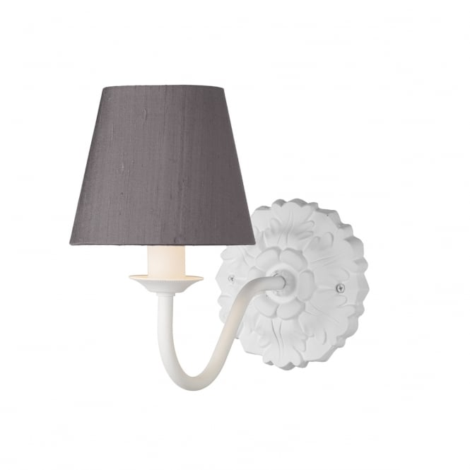 David Hunt Lighting CHATSWORTH traditional single white wall light with charcoal grey silk shade