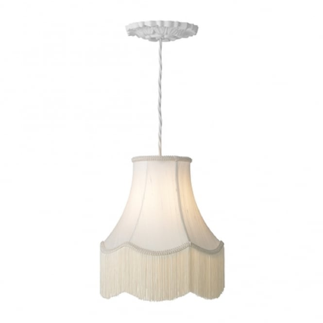 Artisan Lighting CHATSWORTH traditional white ceiling pendant with fringed ivory shade