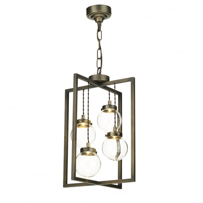 Artisan Lighting CHISWICK open frame LED ceiling light with glass globe shades