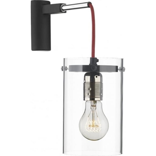 Artisan Lighting CINCINNATI black and chrome modern hanging wall light with red cable