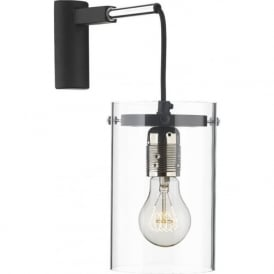 CINCINNATI modern hanging wall light with black cable and clear shade