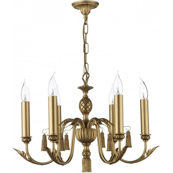 CLASSIC antique gold ceiling chandelier with 6 candle lights - CLASSIC Antique Gold Chandelier Decorative Leaf & Tassels