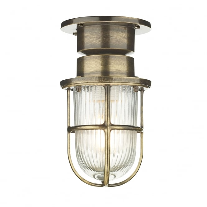 David Hunt Lighting COAST nautical style flush fitting outdoor ceiling or wall light - antique finish