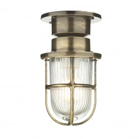 COAST nautical style flush fitting outdoor ceiling or wall light - antique finish