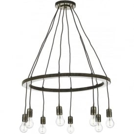 COG 8 light bare bulb hoop chandelier in dark brass finish
