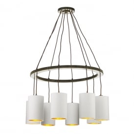 COG 8 light hoop chandelier in dark brass finish with ivory shades