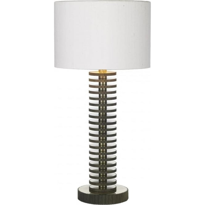 David Hunt Lighting COG brass table lamp with ivory silk shade