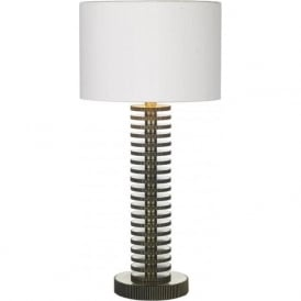 COG brass table lamp with ivory silk shade