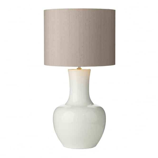 Artisan Lighting COMO gloss white ceramic table lamp with truffle brown silk shade - large