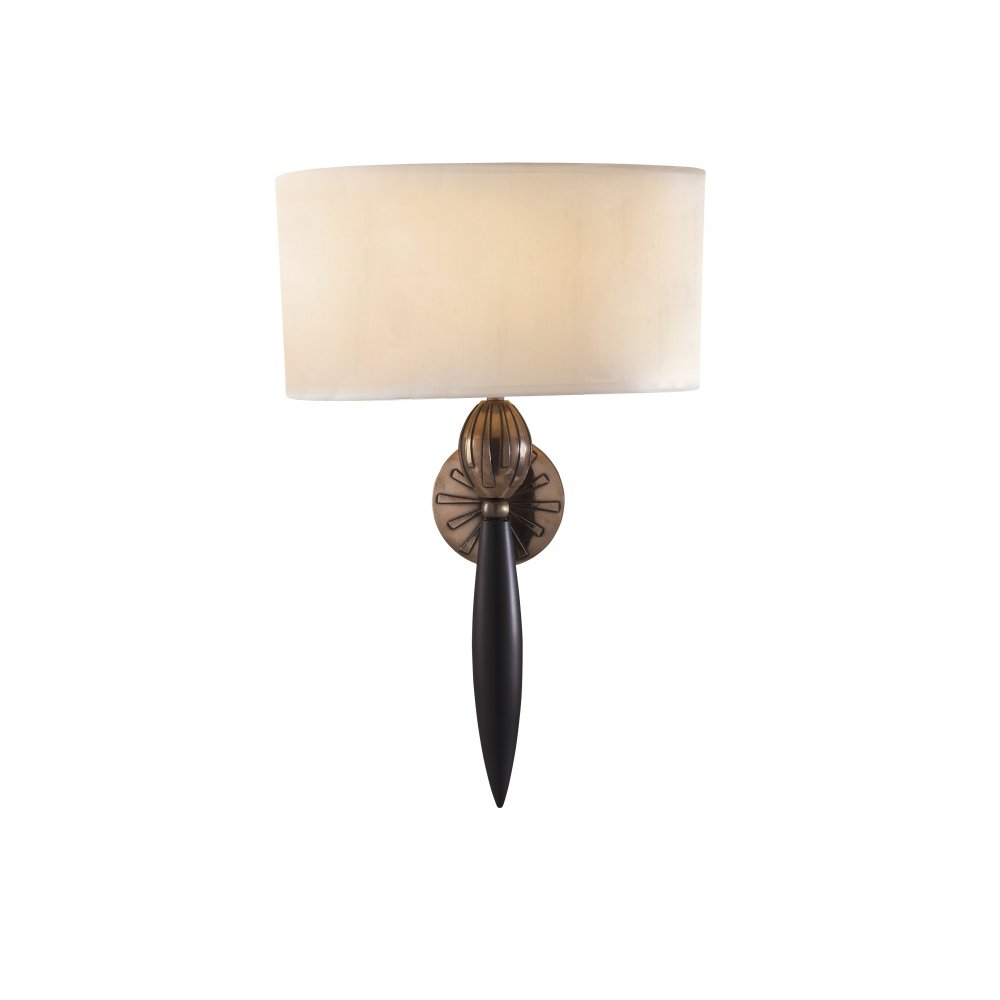 Bronze Wall Sconce With Shade : Wall Light CONTOUR Traditional Black & Bronze Wall Sconce with Silk Shade