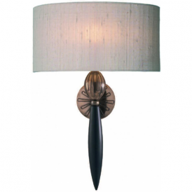 CONTOUR traditional wall sconce with taupe silk shade