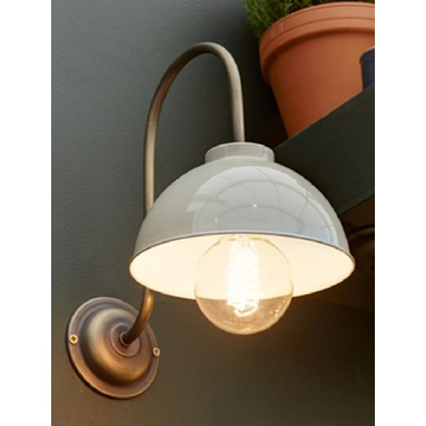 Vintage Single Wall Light in Dark Antique, Cream Painted Metal Shade
