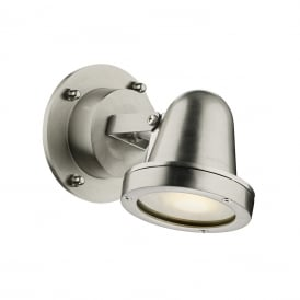 COVE outdoor wall spotlight in solid brass with nickel finish