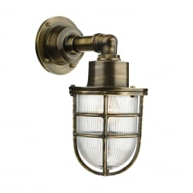 CREWE IP44 nautical style outside wall light in solid brass with antique finish