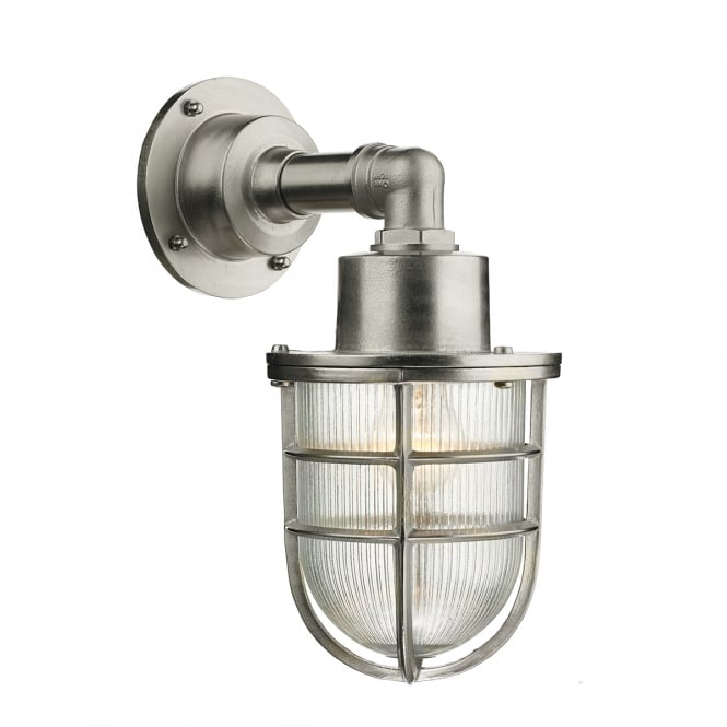 Artisan Lighting CREWE IP44 nautical style outside wall light in solid brass with nickel finish