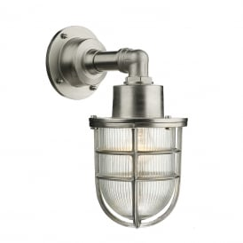 CREWE IP44 nautical style outside wall light in solid brass with nickel finish