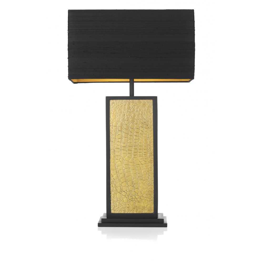 Dramatic Table Lamp Gold Mock Crocodile With Black Silk Shade