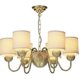 DAHLIA 6 light ivory and gold ceiling pendant