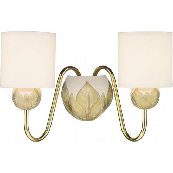 Artisan Lighting DAHLIA double insulated wall light in ivory gold with cream shades