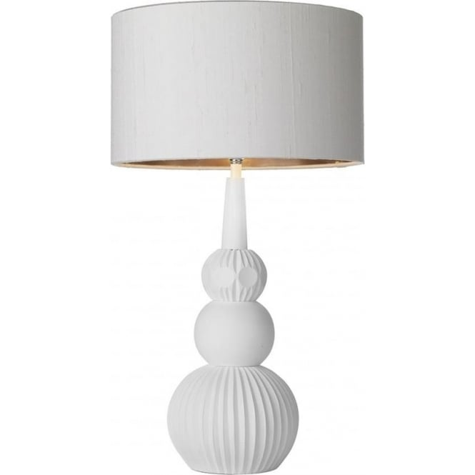 David Hunt Lighting DAPHNE white table lamp with ivory shade