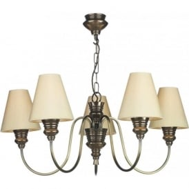 DOREEN 5 light bronze ceiling chandelier, pale gold silk shades