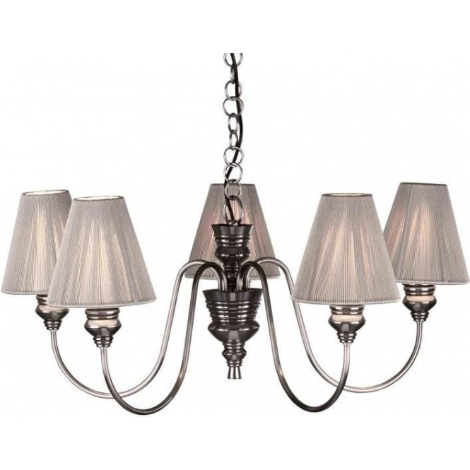 Pewter Ceiling Light DOREEN Decorative Pendant with Silver Shades