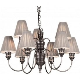 DOREEN large antique pewter ceiling pendant, silver string shades