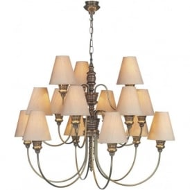 DOREEN large bronze chandelier, taupe silk shades