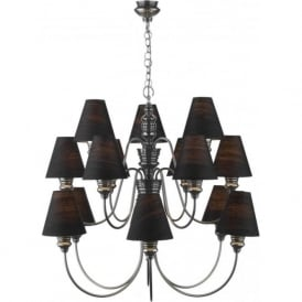 DOREEN large pewter chandelier with black shades