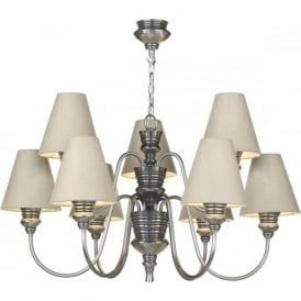 DOREEN traditional pewter ceiling light with pale linen grey silk shades