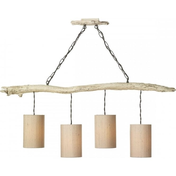 Artisan Lighting DRIFTWOOD double insulated bar pendant light in distressed ivory