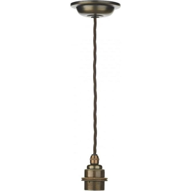 Pendant suspension kit in antique brass with braided brown cable duxford antique brass pendant suspension with braided flex aloadofball Images