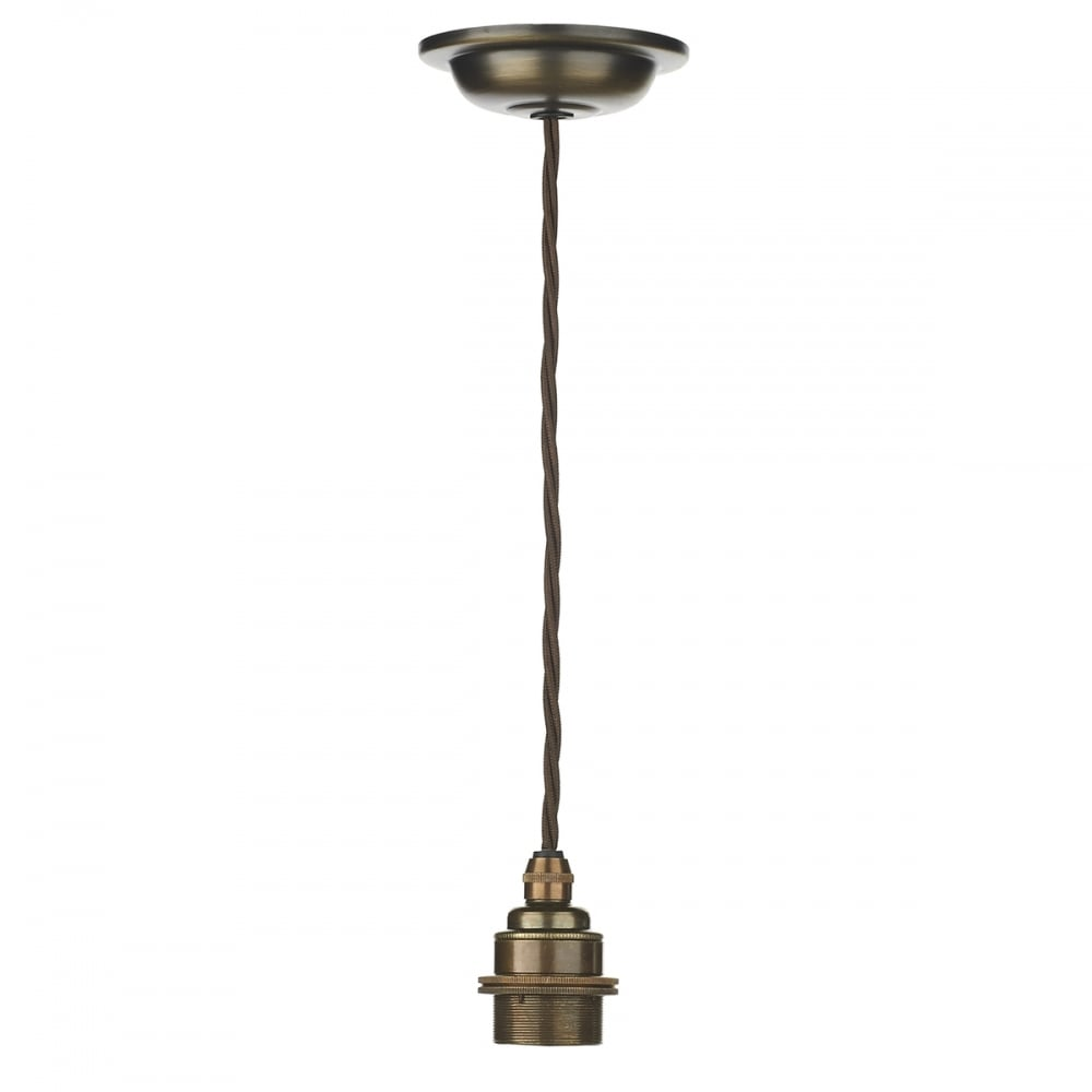 Pendant Suspension Kit In Antique Brass With Braided Brown